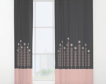 27 colours, Rose Quartz, Charcoal, Minimalist Flowers Curtains, Rose Quartz, Single Window Curtain, Double Panel Window Curtains, Flowers