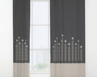 27 colours, Single or Double panel curtains, Minimalist Flowers Curtains, Oyster beige curtain, Charcoal Black curtain, Flowers