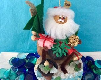 Hawaiian Christmas - Hawaiian  Santa - beach theme - sea glass - Hawaii St. Nick - palm tree - hostess gift - co-worker gift