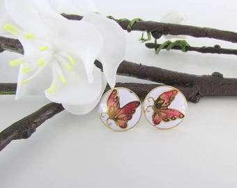 SALE Petite Butterfly Stud Earrings - Vintage 1980s Cloisonne Enamel Jewelry
