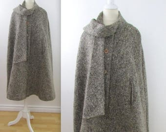 SALE ON RESERVE Tom D'Auria Wool Cape - Vintage 1970s Women's Winter Poncho Coat - One Size Fits Most by Bilboquet