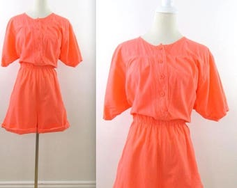 SALE Bright Coral Romper Shorts - Vintage 1980 80s Womens Fluorescent Playsuit in Medium Large by 2Dye4