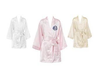 Monogram Flower Girl Robe, Monogram Jr. Bridesmaid Robe, Monogrammed Youth Robes