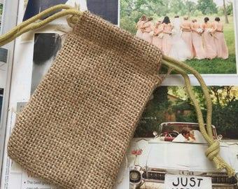 """10 Natural Yute favor bags,3"""" x 5"""" burlap Favor bags, baptism favor bags, wedding favor bags, communion favor bags,country rustic favor bags"""