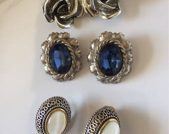 Vintage clip on earring trio