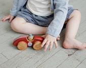 Wood Car, Wooden Toys for Boys, Wooden Baby Toys, Wooden Toys for Toddlers, Red Race Car Toy