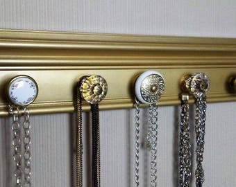 """READY TO SHIP  gold Jewelry organizer Wall necklace holder wall rack  5 knobs total 15"""" gift of jewelry storage and decor"""