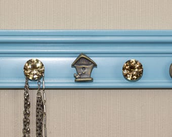 Robins Egg Blue  READY TO SHIP 9 Knobs whimsical birdhouse jewelry organizer This Wall necklace holder makes beautiful jewelry storage