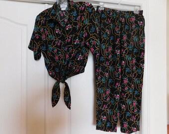 2 Pc Summer Pants Set - Midriff Top