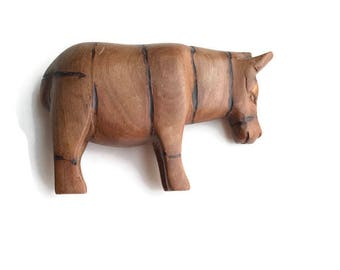 Vintage Donkey Sculpture Hand Carved Wood