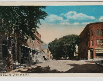 Vintage Postcard, Wickford, Rhode Island, The Square, 1919