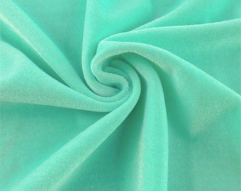 Arctic Teal Stretch Velvet, Fabric By The Yard