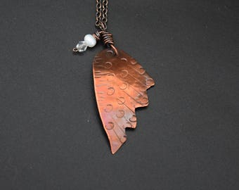 Copper Wing Pendant with Wirewrapped Pearl and Crystal