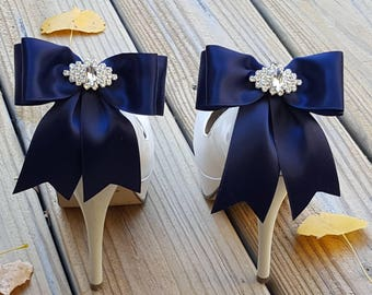 Navy bridal shoes etsy navy blue shoe clips bridal shoe clips many colors satin bow shoe clips junglespirit Choice Image