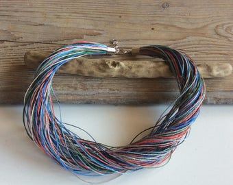 Multistrand fiber necklace / colorful linen necklace / summer jewelry / gift for her / hemp necklace