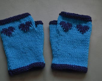 NEW COLOURWAY Sparkly navy blue heart and trim with turquoise hand knitted pair of wristwarmers fingerless gloves gauntlets