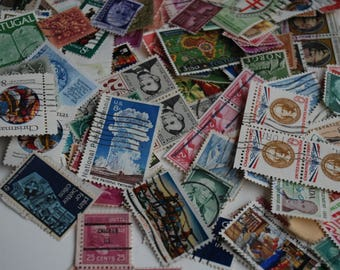 300 old postal stamps, postmarks, stamps, collection, scrapbook, collage
