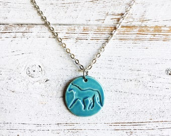 Ceramic Horse Pendant, Equestrian, Unique Gift, Ceramics, Gift for Her, Horse Girl, Farm Girl, Horses, Horse Jewelry, Ceramic Jewelry