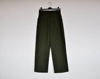 Vintage Genuine Army Pants High Waist Straight Leg Utility Trousers