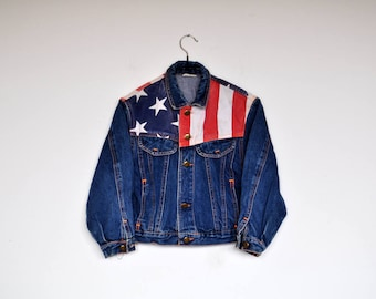 Vintage Kids Denim Jacket American Flag Patriotic Dark Blue Boys Jean Jacket