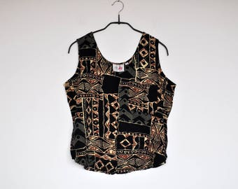 Vintage Sleeveless Abstract Ethnic Print Tank Top Boxy Blouse