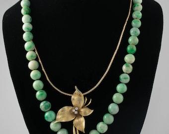 14k Gold Diamond Flower Necklace