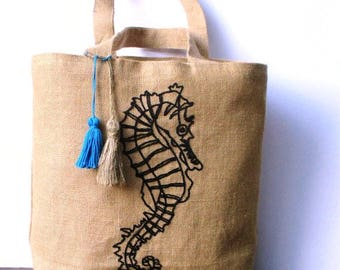Large summer embroidered jute tote bag, hand embroidered with a seahorse in black, beach bag, shoppers bag, one of a kind bag