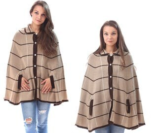 Wool CAPE Poncho 70s  Knitted Cloak Coat Mini Boho Knit Brown Tan Beige Button Down Soft Poncho 1970s Vintage Wrap Coat size Medium