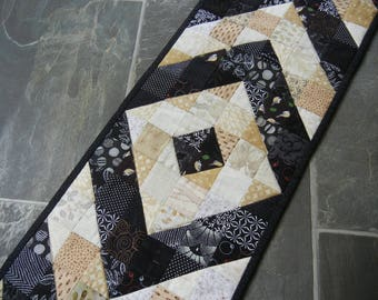 Gold and Black Chevron Fall Table Runner