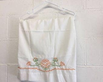 Vintage Hand Embroidered Flower Pillow Case