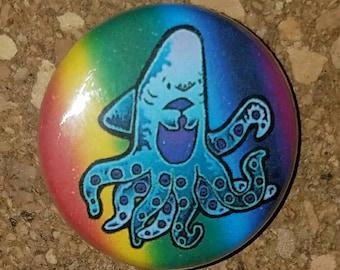 "Rainbow Cute Sharktopus 1"" Pin, Pinback Button"