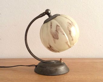 Art Deco-style Molitor table lamp, desk lamp or wall lamp with marbled beige glass shade.