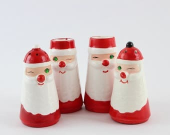 Vintage Ceramic Christmas Santa Figurine Salt and Pepper Shaker Set and Candle Holder Table Set by Commodore Original Japan