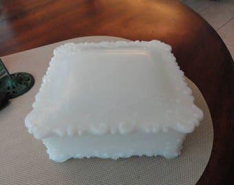 C988)  Antique Victorian Milk Glass Square Dresser Vanity Box  trinket box