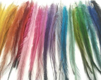 Long Emu Feather Hair Extensions 50 pieces/Hair Feathers/Feather Hair Clip/Wholesale/Craft Supplies//Hairdresser Supplies//Feather Earrings
