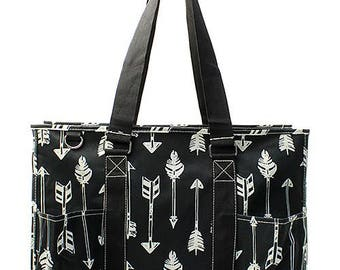 Arrows Tote, Monogrammed Utility Tote,  Large Tote with Arrows Print, Tote Bag with Pockets,  Arrows Bag, Black and White Tote