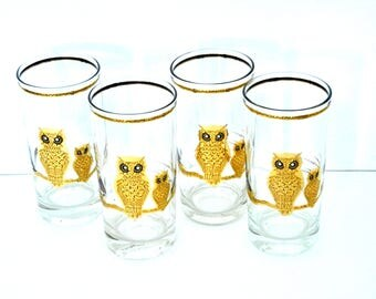 Vintage Gold Culver Owl Drinking Glasses- Hollywood Regency Style