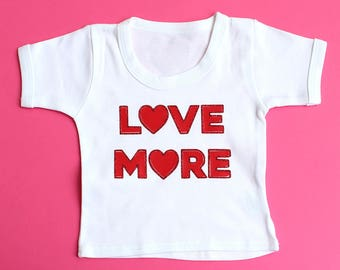Red Glitter LOVE MORE Baby T-Shirt