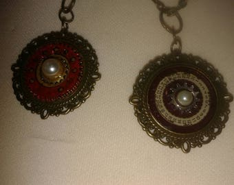 Enamelled and Upcycled cabachon pendants