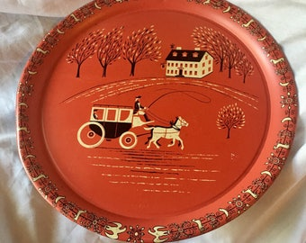 Vintage Colonial Coach and Inn Tin Serving Tray Large Red Bordered