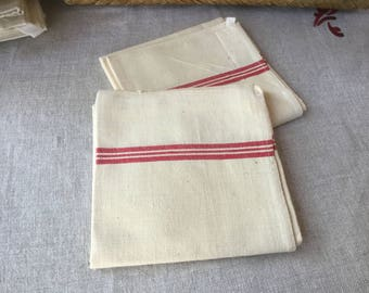 French Vintage 2 Dish Towels, pair of Cotton towels Red stripes