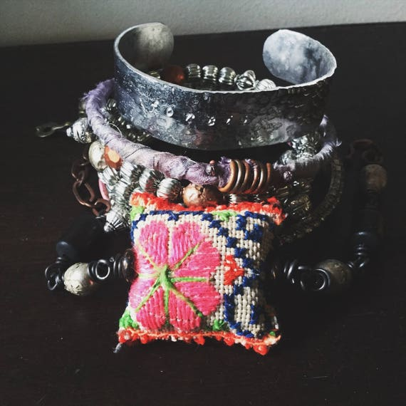 Boho bangle set with silver beads, dusky purple sari silk, Hmong textile, stamped cuff   layering bangles, gypsy bangle stack