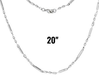 """Antique Silver Necklace  - 20"""" Long - Ships IMMEDIATELY from California - CH630"""