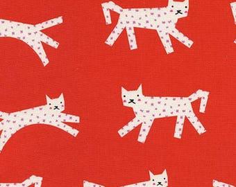 Cotton + Steel - COLLAB - Noel - Snow Leopard Red by Rashida Coleman Hale