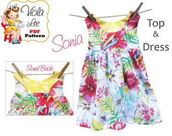 Toddler Dress. Sewing Patterns. Girls Dresses. pdf Dress Pattern. Girl's Dress Pattern. Girl's Top Pattern. Top Pattern. PDF Pattern. Sonia
