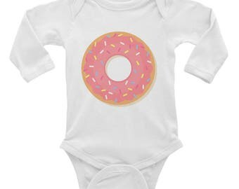 Pink Frosted Donut baby body suit