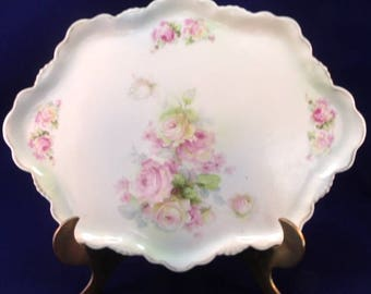 """Victorian Style Dresser Tray, Hand Painted, Marked """"Germany"""", Pink and Yellow Roses"""