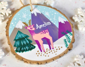 Reindeer Ornament, Kids Christmas Ornament, Personalized Baby Ornament, Gift for Girls, Little Girl Ornament, Baby Deer Ornament, Name Gift