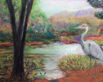 """Signed Print of """"Heron Pond"""" by MaryLee Sunseri"""