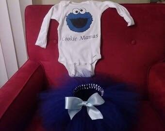 Preemie up to 5t,  Dark Blue ballerina tulle skirt with custom tshirt set, free shipping
